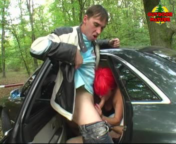 Gorny mature slut sucking cocks in a car and in the woods