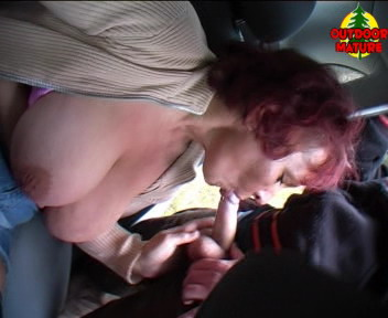 Old slut sucking hard cocks in the car