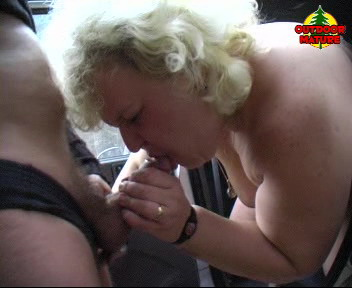 Blonde granny sucking two cocks and swallowing cum
