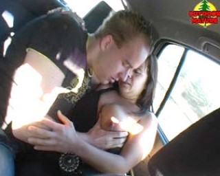 Chubby slut sucking cocks in a car