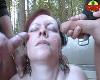 Mature slut gets cum in the woods