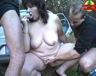 Chubby mature slut sucking cocks in the car and in the woods