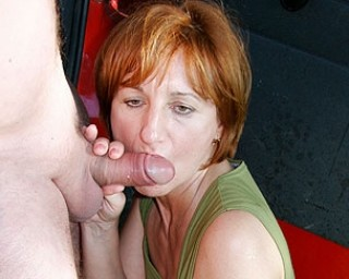 Mama sucking two guys off from their van