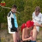 This is one hot mature threesome in the woods