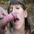 deinking cum in the middle of the forest